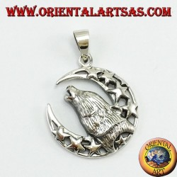 Silver Pendant Wolf chewing to the moon
