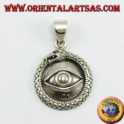 Ciondolo in argento, Ouroboros  con occhio degli illuminati