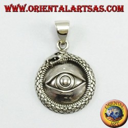 Silver pendant, Ouroboros with lighted eyes