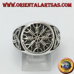 Anello d'argento , vegvisir (compasso celtico) con nodo di tyrone
