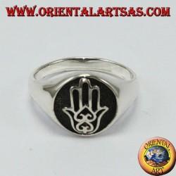 Anello d'argento, sigillo Mano di fatima Hamsa