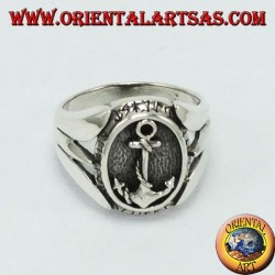 Silver ring with anchors