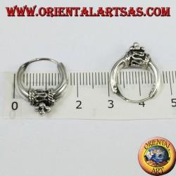 Boucles d'oreilles en argent, cercle en croissant décoré avec diamètre Ø mm. 17