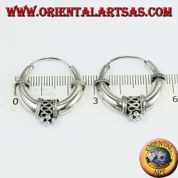 Boucles d'oreilles en argent, cercle en croissant décoré avec diamètre Ø mm. 26