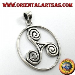 Pendant in silver Triskele (triskell, triquetra) in the cosmic circle (large)
