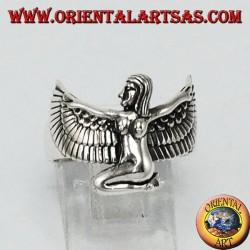 Anneau en argent Isis la déesse aux ailes