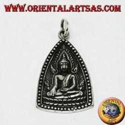 Silver Pendant Buddha Medal with Unalome Buddhist Symbol