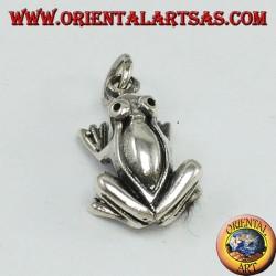 Ciondolo in argento rana tridimensionale