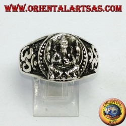 Anillo de plata con Ganesha y Oṃ (ॐ)