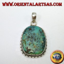 Pendentif en argent avec turquoise tibétaine antique naturelle