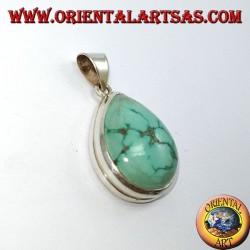 Silber Anhänger mit Türkis Natural Tibetan (Drop)