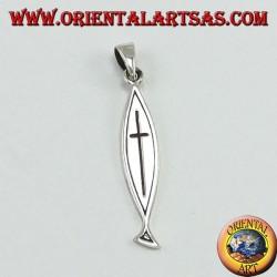 ciondolo in argento, croce intagliata su Ichthys (cristogramma)