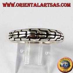 Anello in argento fedina intarsiata