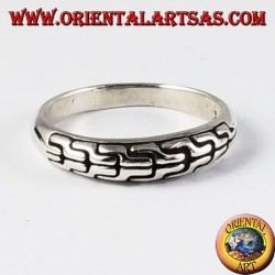 Silver ring, braided band