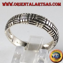 Silver ring, 3-wire plain weave