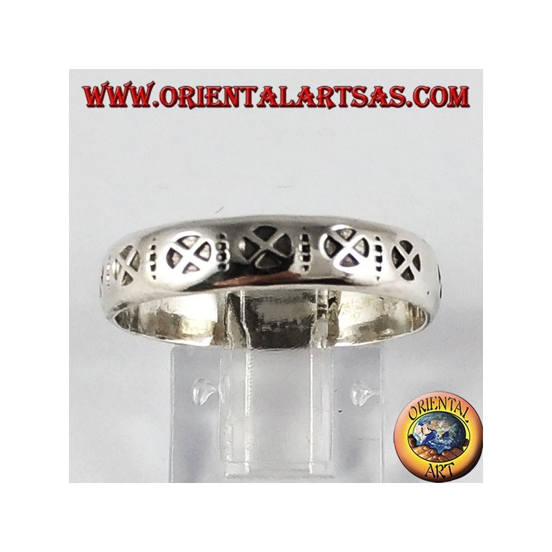 Silver ring (band), with cosmic cross
