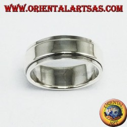 Anti-stress swivel silver ring, flat