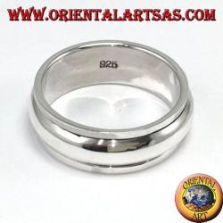 Anello fedina in argento girevole antistress, semplice bombata