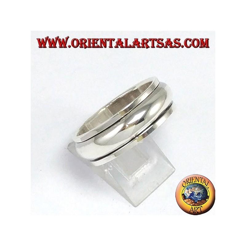 Anello fedina in argento girevole antistress semplice bombata