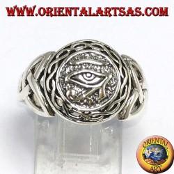 Anello in argento, occhio di Horus con nodo di Tyrone