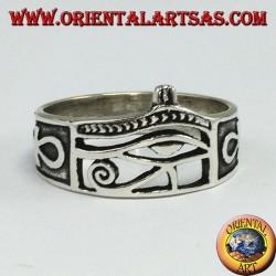 Anello in argento, occhio di Horus con Ankh e corona