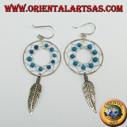 Silver earrings, dream catcher from mm.25 with turquoise
