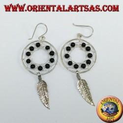 Boucles d'oreilles en argent, capteur de rêves de mm.25 avec des boules d'onyx
