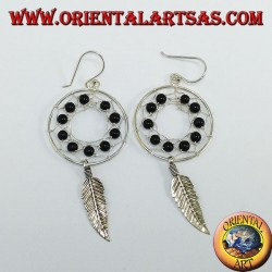 Silver earrings, dream catcher from mm.25 with onyx balls