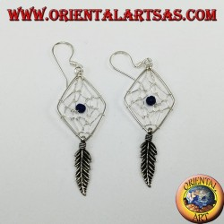 Silver earrings, dream catcher Rhombus with onyx