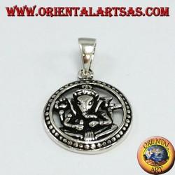 Ciondolo in argento Ganesha nella ruota  del karma