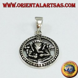 Silver pendant, Ganesha in the wheel of karma