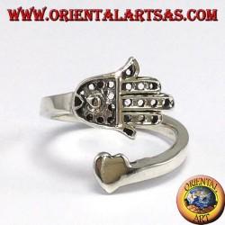 Silberring, Hand von Fatima (Hamsa) mit Herz