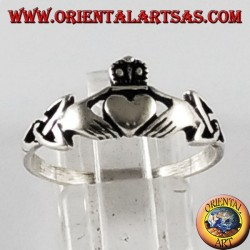 Silver ring Claddagh Celtic symbol with tyrone knot