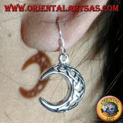 Silberne Ohrringe, Mond mit Anhänger keltischer Knoten