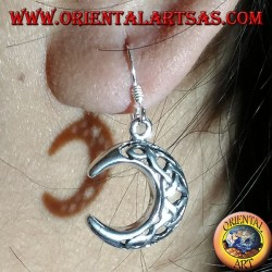 Silver earrings, moon with pendant celtic knot