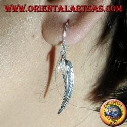 Boucle d'oreille en argent, plume