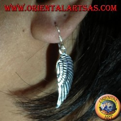 Silver earring, double-winged angel wings