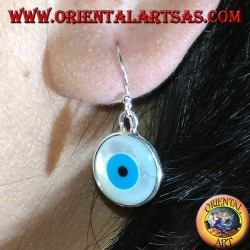 Silver earring with two-sided Greek eye