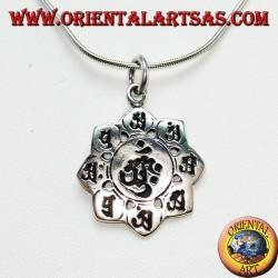 ciondolo d'argento 925 , ॐ om nel fiore di loto con gli otto simboli del buo auspicio
