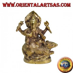 Ganesha on the rat, in brass