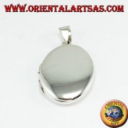 Ciondolo portafoto in argento semplice (ovale piccolo )