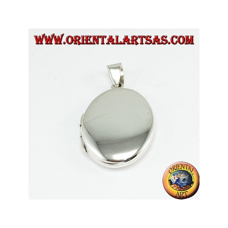 Simple silver photo frame pendant (small oval)
