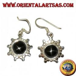Серебряные серьги с круглой черной звездой