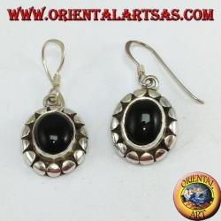 Boucles d'oreilles en argent avec onyx ovale