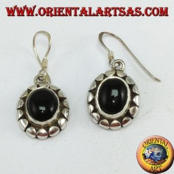 Silver earrings with oval onyx