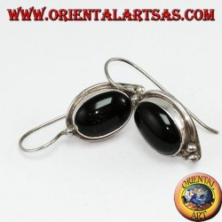 Simple silver earrings with big onyx