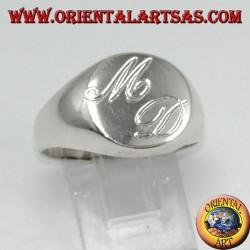 Anello chevalier tondo  in argento  incisione su richiesta gratis