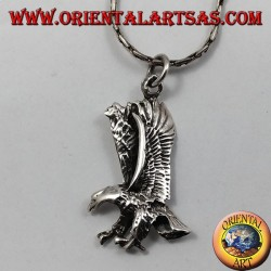 Eagle with wings combined silver pendant