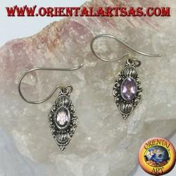 Orecchini in argento con Ametista ovale naturale
