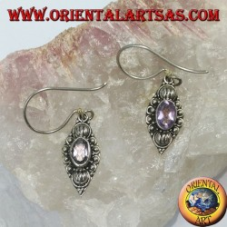 Silver earrings with natural oval amethyst